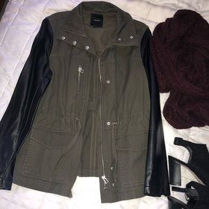 Olive pleather sleeve jacket